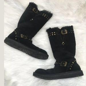 Ugg Women Boots sz 6 gold Studs Black Mid calf